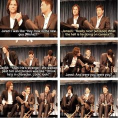 The Supernatural guys. They can't even distinguish his Misha moments from his Cas moments!