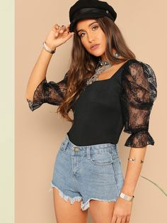 Going Out Highstreet Black Lace Puff Sleeve Rib-Knit Tee 2019 Spring Glamorous Women Square Neck Backless Tshirt Tops Black XS Running Shirts, T Shirts For Women, Clothes For Women, Pulls, Types Of Sleeves, Fashion News, Fashion Online, Fashion Women, Fashion Trends