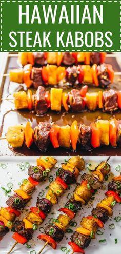 Crazy good Hawaiian steak kabobs Hawaiian steak marinade easy recipe grilling broiling baking beef kabobs on the grill beef kabob marinade baked kabobs ground beef kabobs. Chicken Kabob Marinade, Beef Kabob Marinade, Beef Skewers, Steak Kabobs, Shish Kabobs, Hawaiian Steak Marinade Recipe, Beef Kabobs In Oven, Kebabs On The Grill, Chicken Kabobs