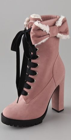 Red Valentino Lace Up High Heel Boots in Pink (rose) - Lyst