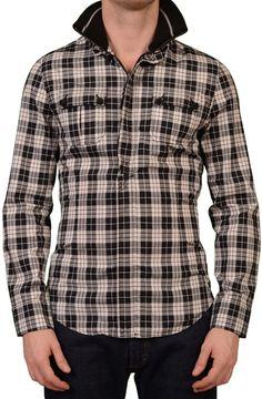 ad3adfca8b FRANKIE MORELLO Black-White Tartan High-Neck Cotton Slim Fit Shirt Size M.  SARTORIALE
