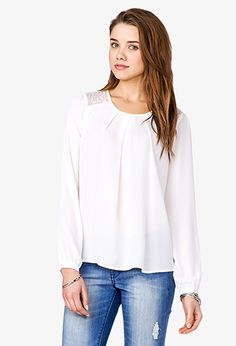 $19.80 | Lace Chiffon Top | FOREVER21 - 2035916288