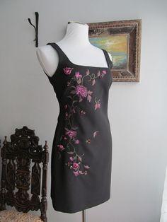 LAUNDRY Solid Black w/Multi-color Embellishments Polyester Sheath Dress Size 8P #Laundry #Sheath #Cocktail