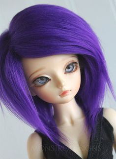 DOLL / BJD / Dollfie MSD sized Dark Purple fake fur wig  Ready To Ship