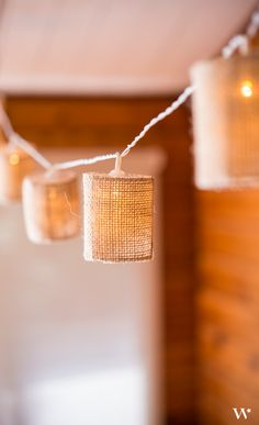 Burlap is a classic choice in rustic wedding themes. These mini LED lanterns are battery powered and can be strung in any place of your choosing!