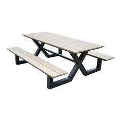 SenS-Line Jonas Picknickbank Round Outdoor Dining Table, Wooden Picnic Tables, Steel Dining Table, Rattan Coffee Table, Wooden Side Table, Wood And Metal, Aluminium, Outdoor Furniture, Outdoor Decor