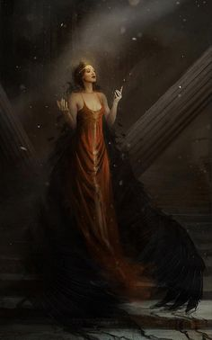 Artist: Bastien Lecouffe Deharme aka Bastien - Title: Circle of fire - Card: High Priestess Lunette (Beatified)