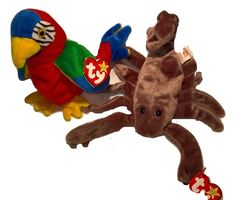 1997 Retired Beanie Babies STINGER the Scorpion  & JABBER THE PARROT MWMT #Ty