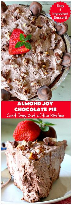Almond Joy Chocolate Pie | Can't Stay Out of the Kitchen | this fantastic #Chocolate #Pie uses only 5 ingredients