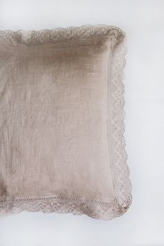 Take nature to bed with this graceful linen pillow sham made from 100% pure linen fabric. All 4 edges are delicately embroidered with wide linen lace.