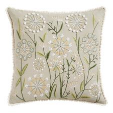 Beautifully embroidered, fully lined, zippered and fringed, our big floral pillow is ready to delight all partakers of your sofa or chair. You'll think it's just dandy—and then some. Flower Embroidery Designs, Hand Embroidery Patterns, Embroidery Stitches, Embroidered Towels, Embroidered Cushions, Embroidered Bird, Floral Pillows, Decorative Throw Pillows, Cushion Embroidery