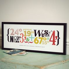 Love this idea of using the coordinates of your baby's birth as a piece of art.