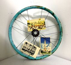 Rustic LIght Turquoise Bicycle wheel -- found object industrial bike art $14.99 USD