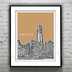 Nashville Poster Art Tennessee  Vanderbilt on Etsy, $18.95