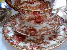 Beautifully decorated late 1800s English bone china tea cup set by Samuel Radford: handpainted decoration, lovely gold accents on Etsy, $28.00