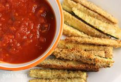 "Baked Zucchini Sticks   Gina's Weight Watcher Recipes  Servings: 3 • Size: 1 zucchini (sauce extra) • Old Points: 1.5 pts • Points+: 3 pts  Calories: 121.9 • Fat: 2.4 • Carbs: 21.0 g • Fiber: 6.0 • Protein: 6.7 g    Ingredients:   3 medium zucchini sliced into 3"" x 1/2"" sticks  1 large egg white  1/3 cup seasoned whole wheat bread crumbs  2 tbsp grated Pecorino Romano cheese  cooking spray  1/4 tsp garlic powder  salt  fresh pepper    Directions    In a small bowl, beat egg whites and season..."