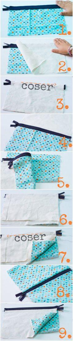 Cómo coser un estuche - paso a paso