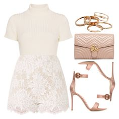 """""""Rose Gold"""" by vany-alvarado ❤ liked on Polyvore featuring Staud, Gianvito Rossi, Gucci and Kendra Scott"""