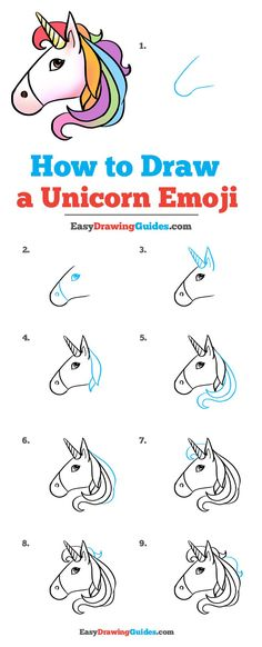 unicorn emoji draw easy drawing drawings step easydrawingguides tutorial realistic really sketches elsa learn fantasy lessons