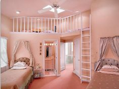 Teen bedroom decorating ideas contemporary girly teen girl room decor bedroom interior with higher bunk bed smart ideas added closet and dress room theme Teenage Girl Bedroom Designs, Bedroom Wall Designs, Teen Girl Rooms, Teenage Girl Bedrooms, Bed Designs, Design Bedroom, Cool Girl Bedrooms, Cool Room Designs, Pink Bedrooms
