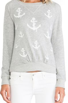 291 Anchors Pullover Crew in Heather Grey//
