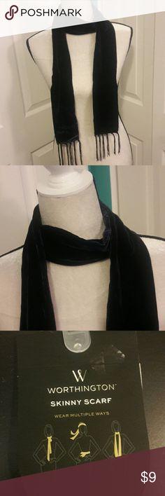 NEW VELVET SKINNY SCARF NEW. Velvet. Navy Blue. Wear multiple ways. Rayon and Silk. Worthington Accessories Scarves & Wraps