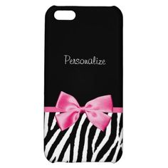 #FashionDesign         	  	  		  		 		 		  			 			  					   					  			 		   		  		 		  		 			 			  Trendy Black And White Zebra Print Pink Ribbon iPhone 5C Cover   		 			 			  		  		 	   	      A trendy black and white zebra print pattern iPhone 5 Matte Finish Case with a cute pink ribbon bow wrapped like a present. Personalize by adding your name. Perfect present for a teen girly girl!