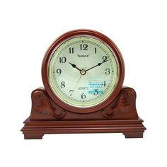 LNC Vintage Decor Wood 5 Inch Table Clock Brown Japan Seiko Movement ($94)