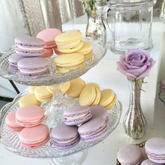 Pink, lavender, and yellow macarons
