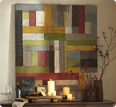 Wood Shim DIY Wall Art...this would make a great headboard.....