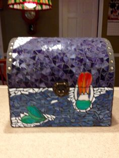 Mermaid at midnight treasure chest front view