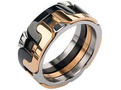 BOLD MENS INOX SILVER BLACK GOLD IP STAINLESS STEEL INTERLOCK POLISHED BAND RING | Jewelry & Watches, Men's Jewelry, Rings | eBay!
