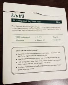 Used the #Klairs Rich Moist Soothing Sheet Mask tonight! It's my first time using it and the first klairs product I've tried   Thoughts: Although the mask was very thick and awkward fitting, it was still very lovely. After taking off the mask(had it on for 30 minutes), my face looked so plump and slightly brighter. There was enough extra essence in the pack to cover my arms and neck. I give this a 9/10 for its simplicity, soothing abilities, and comfortable experience. I'm planning to bu...