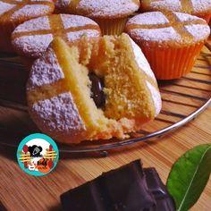 Muffins de naranja rellenos de chocolate