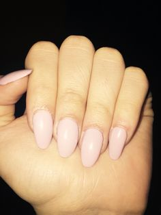 Baby pink almond shape acrylic nails