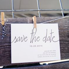 SAMPLE : Modern Calligraphy Letterpress Save the Date (flat printing also available) on Etsy, 3,78 €