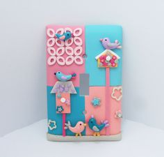 Elizabeth - Bird, Birdhouse Lightswitch cover - pink, coral, turquoise.