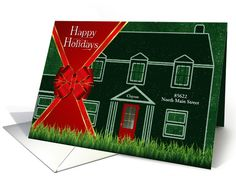 From Our New Address - Custom Happy Holidays card