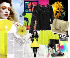 """""""Neon and Black? Yes, they match."""" by cultureoffashion ❤ liked on Polyvore"""
