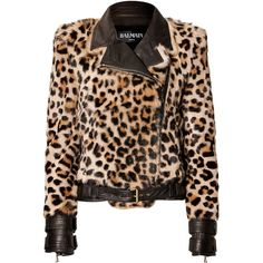 Balmain - Leopard Print Fur Jacket ($2,065) ❤ liked on Polyvore featuring outerwear, jackets, balmain, black, furjacket, women, fitted jacket, asymmetrical zip jacket, elbow patch jacket and long sleeve jacket
