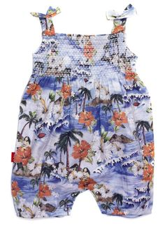 Hawaiian Print Smocked Playsuit - Onesies | Oh Baby London - Now £20.00