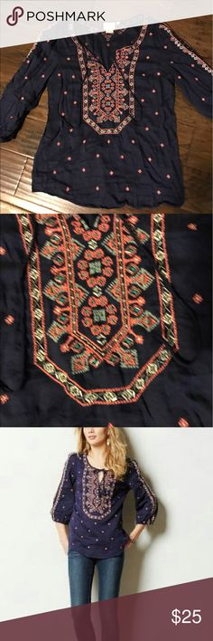NWOT Anthropologie Vanessa Virginia Top This beautiful beaded and embroidered top is NWOT, never worn and in perfect condition. All beads are intact. It is a size 8, but I wear a 4/6 and it fit loosely on me, so it could fit many sizes. Anthropologie Tops Blouses