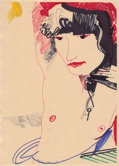 """kundst: """" Marco Rufo Perroni (It. 1970) Madame with sun Markers on paper (30x21,5 cm) 2015 """""""