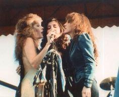 Stevie Nicks with her longtime backup singers, Sharon Celani and Lori Nicks