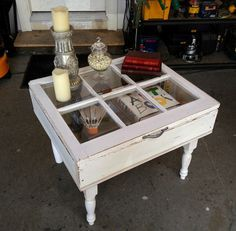 Old Window Table DIY - Home & Family window windows recycle recycled upcycle upcycled reclaimed eco reuse DIY by SAburns Old Window Projects, Home Projects, Home Crafts, Diy Home Decor, Window Ideas, Recycled Furniture, Diy Furniture, Old Door Tables, Window Table