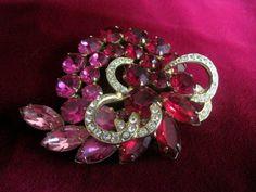 Pink & Red Rhinestone Swirl Brooch