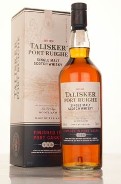 Talisker Port Ruighe, Single Ilse of Skye Malt Scotch Whisky. combines the powerful smoky maritime character of Talisker with succulent sweet notes of rich berry fruits for a superb contrasting taste experience.