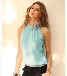 Blusa camisa mujer sin mangas con flor aplicada Moda Mujer 16 Venca