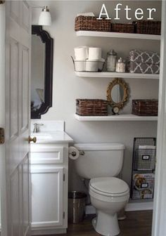 Love the open shelving for the bathroom. Add cute baskets like they did here and you have a super cute bathroom storage solution!