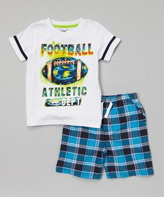 Love this White 'Football' Tee & Blue Plaid Shorts - Infant, Toddler & Boys on #zulily! #zulilyfinds